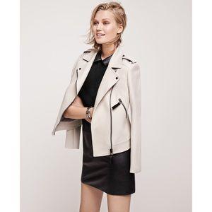 Ann Taylor Crepe Asymmetrical Zip Moto Jacket Bone